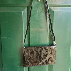 Black faux alligator purse